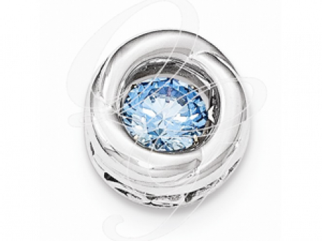 Sterling Silver Polished Vibrant Blue CZ Circle Pendant